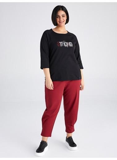 Faik Sönmez  Slogan Detaylı Kısa Kol T-Shirt 61820 Siyah